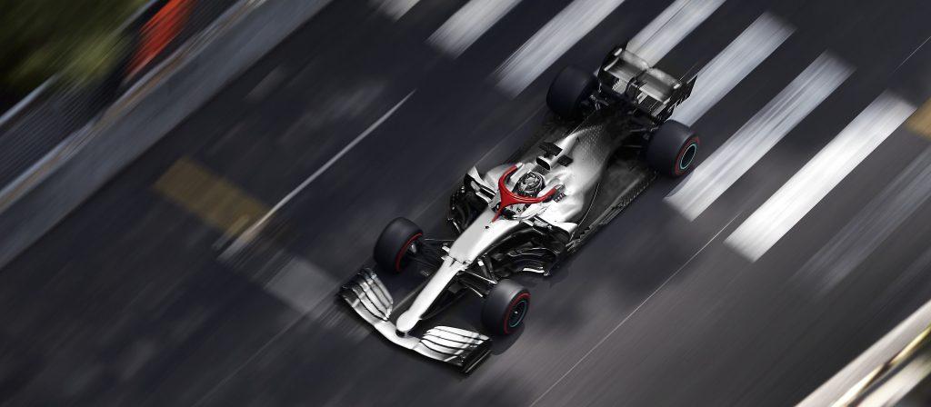 F1 Car Fast Track Bird Eye View